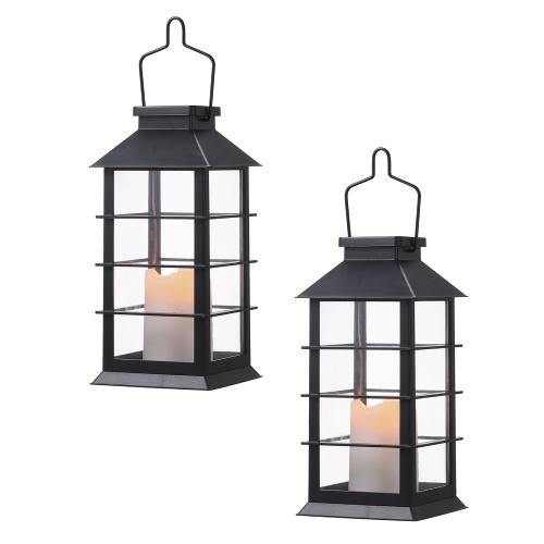 Solarbetriebene Laternenlichter im Vintage-Stil von Tomshine Flackernde Flamme Feuerkerze LED-Lampe im Freien hängende dekorative Beleuchtung für Garten-Patio-Hof
