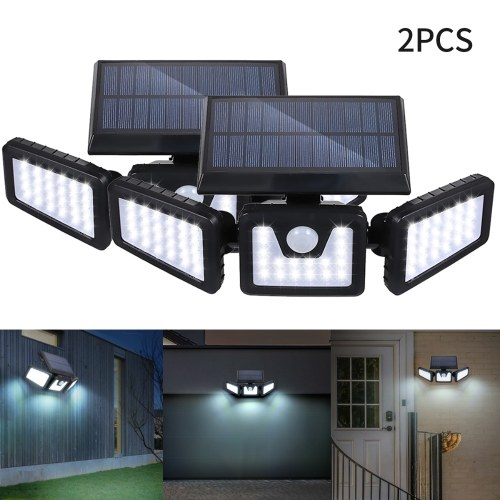 Tomshine Solar Powered PIR Motion Sensor Wall Street Light 3 Heads 70 LEDs Night Lamp IP65 Water-resistant Outdoor Secure Lighting for Yard Garden Driveway Porch