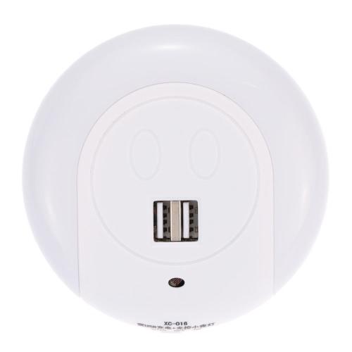 LED-Nachtlicht mit Lichtsensor Dual USB-Ladegerät für Schlafzimmer Wohnzimmer Verwendung Warm Weiss