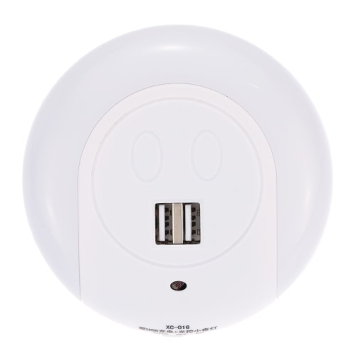 Luz nocturna LED con Sensor de luz Dual USB cargador para dormitorio Living comedor uso blanco cálido