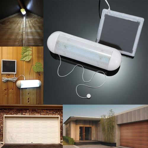 Lixada 5 LED Ultra Bright Outdoor Solar Powered Wall Light Shed Garage Corridor Lamp with Pull Cord Rope Switch