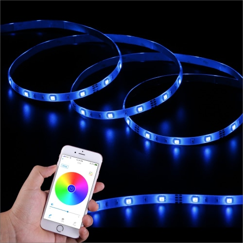 SingHong 300cm 90 LEDs Bluetooth Light Strip RGB 16 Million Colors Brightness Adjustable Smartphone App Control Multicolored Indoor Lighting Use EU Plug