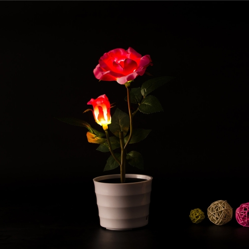 2 LEDs Solar Powered Rose Flower LED Light Night