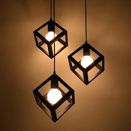 E27 Lampenfassung Vintage Deckenleuchte Quadrate Eisen Kronleuchter