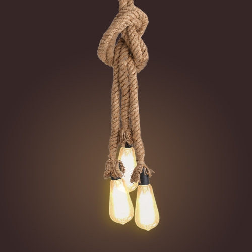 Tomshine Industrial Vintage Retro 3 Heads Hemp Rope Ceiling Lamp