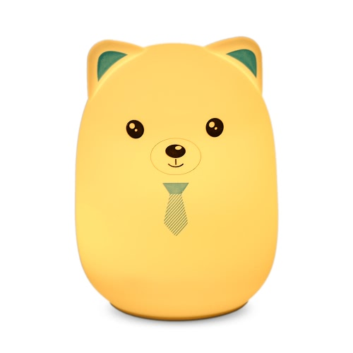 8 LEDs 3 Modes 7 Color Changing Bud Bear Soft Silicone Night Lamp USB Rechargeable Pat Sensor Bedside Light for Baby Nursery Children Toy Gift Bedroom