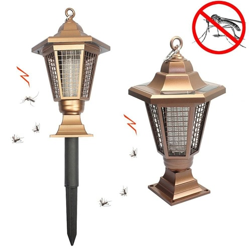 LED Outdoor Solar Powered Mosquitoes Light Insect Pest Bug Killer Repellent Zapper Home Garden UV Stick in Ground Lantern Hexagonal Lawn Lamp