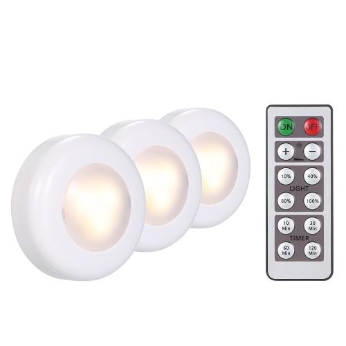 3 diodo emissor de luz do bloco sob a luz do disco da lâmpada do armário com controlo a distância