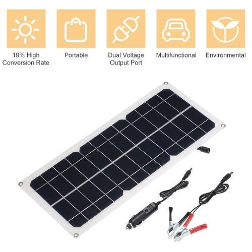 Dual Output Solar Power Charging Panel with USB Interface Car Charger