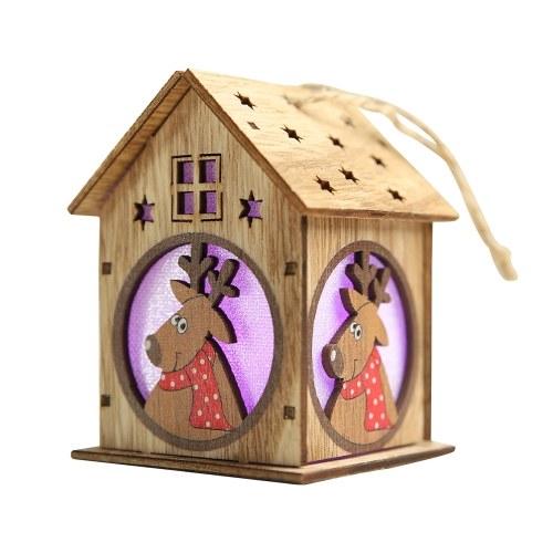 Рождественский светящийся деревянный дом с красочными светодиодами
