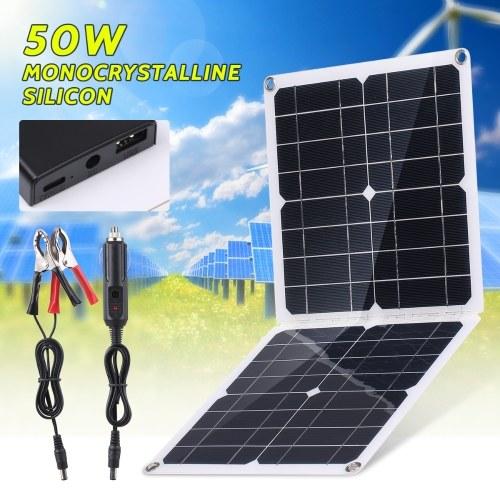 Carga de panel solar plegable de 50 W con salida de CC y USB y salida TIPO-C Módulo de alta eficiencia IP65 Resistente al agua para dispositivo electrónico de RV de barco de casa RV