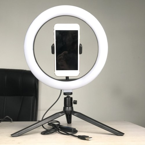 LED Selfie Round Light Brightness Adjustable Lamp for Live Broadcast Selfie Photography Video with Mobile Phone Bracket