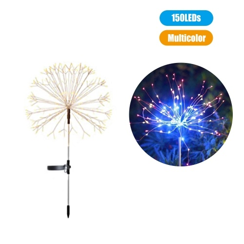 LEDs Solar Powered Energy Firework Design Fairy String Light Lawn Lamp with 2 Different Lighting Modes Effects Built-in 600mAh High Capacity Rechargeable Cell Flexible Twistable Bendable IP65 Water Resistance