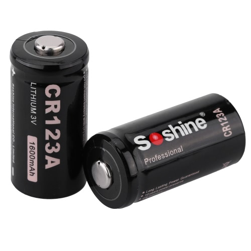 Soshine 2pcs CR-123A 3V 1600mAh Li-ion Lithium Battery for Flashlight