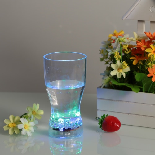 360ml LED Light Up Glass Glowing Flashing Liquid Sensing Multicolor Plastic Tumbler Wine Mug Cup Beer Whisky Drinkware Pub Party Use