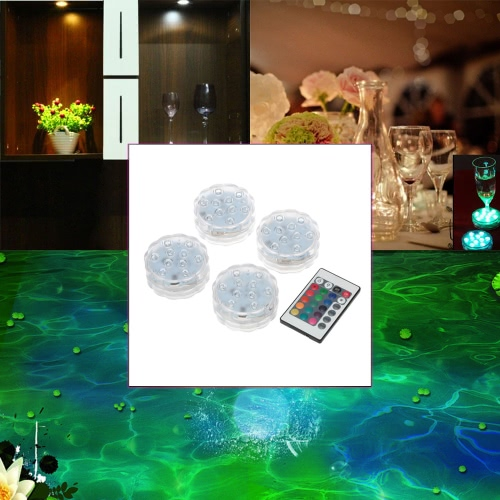 Docooler 4Pcs IP68 Waterproof RGBWY 10LEDs Remote Control Submersible Underwater Lamp Mini Floral Vase Base Light with 24 Keys RemoteController for Aquarium, Pond, Party, Wedding, Halloween, Wedding Party Decoration
