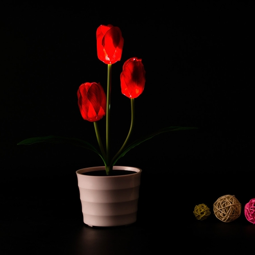 3 LEDs Solar Powered Tulip Flower LED Light Night