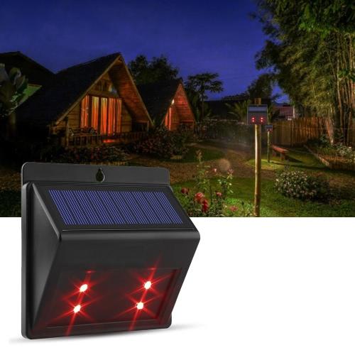 Solar Powered Red LED Predator Deterrent Lights Guard Light