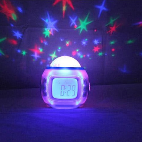 new fashion colorful music skylight star projector lamp led night light bedroom natural sound alarm clock - Star Projector Lamp