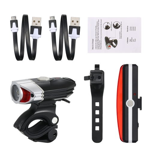 USB recargable LED bicicleta frontal faro trasera luz trasera Set Kit