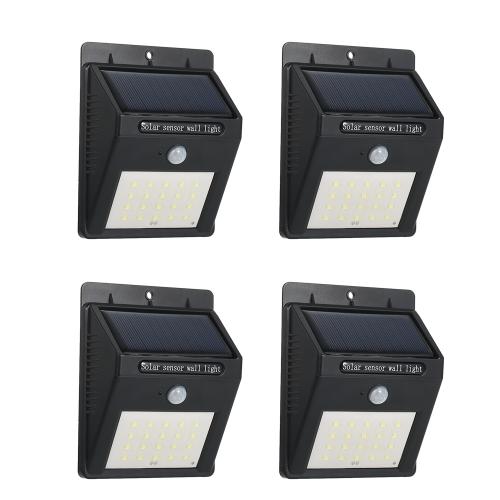 4 lampe murale rechargeable solaire de Pack 20LEDs avec le capteur de mouvement de PIR