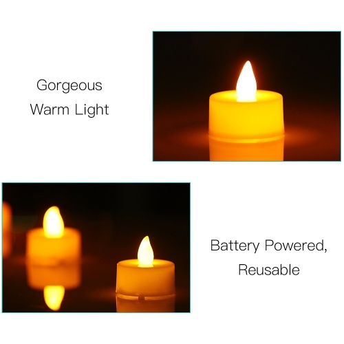 TOMTOP / 4 Pack LED Flame Flickering Effect Candle Light Lamp