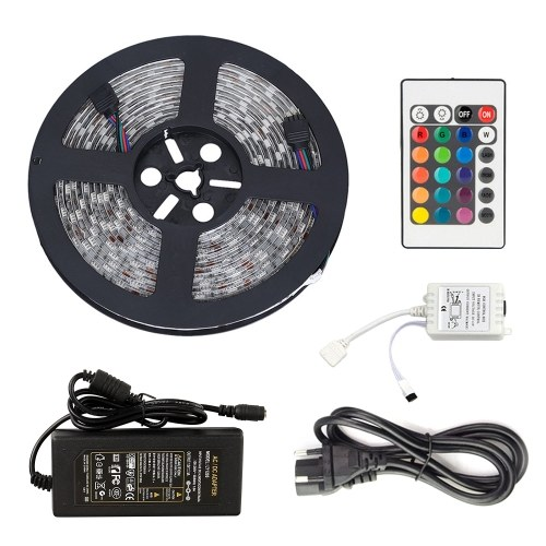 DC 12V 5M RGB LEDs Strip Light Set with IR Remote Flexible Cuttable Self-adhesive LEDs Strips