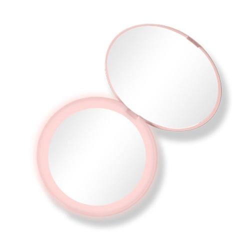 Mini espelho de maquiagem iluminado L-ED Ferramenta de maquiagem compacta portátil para viagem com ampliação 10X