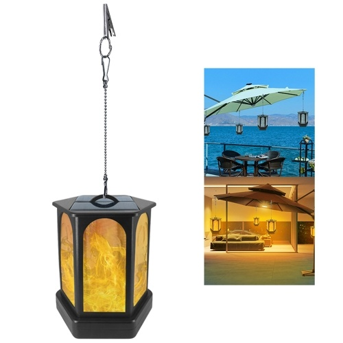 96LED Solar Light Hexagonal Flame Light Outdoor Landscape Lamp Decoration Lighting for Garden Yard Patio Path