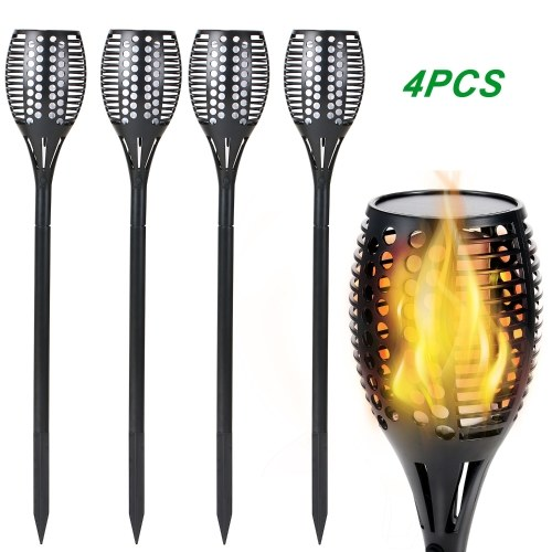 Solar Flickering Flames Torches Lights Outdoor Solar Spotlight Landscape Decoration Lighting Dusk to Dawn Auto On/Off Security Torch Light Gorgeous Dancing Flames Light
