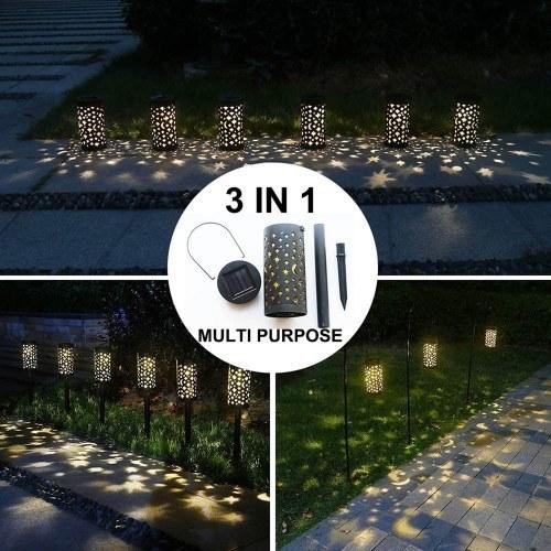 Solar Eisen S-Teer M-oon Hohllampe Garten Garten Flamme Stecker Licht IP44 2PCS