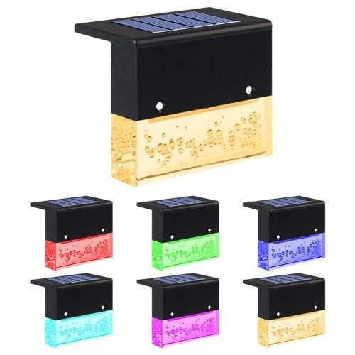 4PCS Solar Step Lamp IP55 Warm White+RGB Light
