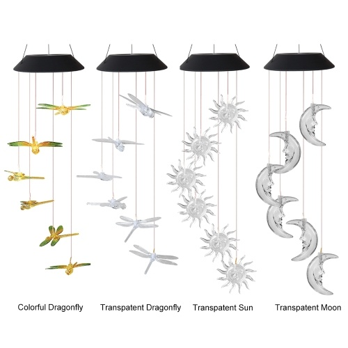Solar  Wind Chime Lamp 6 Colors Changing LED Colorful/Transparent Dragonfly Tranparent Sun/Moon