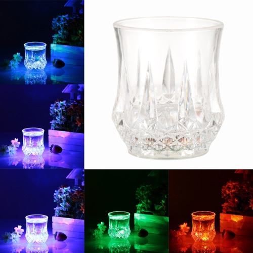 200ml LED Light Up Glass Glowing Flashing Liquid Sensing Multicolor Plastic Tumbler Wine Mug Cup Beer Whisky Drinkware Pub Party Use