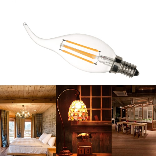 4W FC35 LED Filament Ampoule E14 AC220-240V base Vintage Retro Festival de vacances Décorations Blanc Chaud