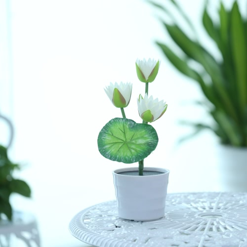 3 LEDs 0.18W Solar Powered Lotus Flower LED Light Night Lamp Water-resistant IP65 Light Control Outdoor Garden Decorative Landscape Lawn Light for Yard Pathway Patio