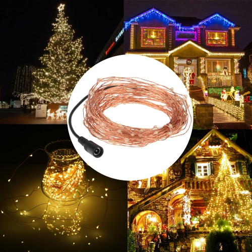 15m/50ft 150 LEDs Outdoor Copper String Wire Lights Dimmable LED String Lights Flash Strobe Water-resistant IP65 Decorative Firefly Rope Lights Warm White with DC 5V  Adapter&Remote Control