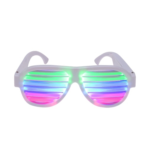 LED Glow Sound Control Glasses Rechargeable Multicolored Light Flashing Musical Shades Sound Activated Club Bar Dancing Hall Party Disco Dubstep