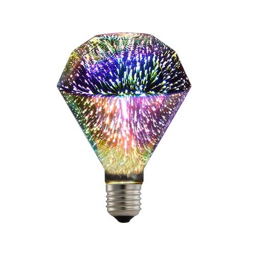 6W E27 LED 3D Colorful ST64 Filament Fireworks Light Bulb