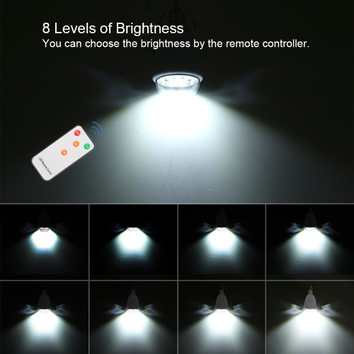 Tomshine AC 90-260V DC 6V 2 Charging Modes 8 Brightness Dimmable Remote Control Light Solar Powered Bulb 12 LED Garden Lamp for Indoor Outdoor Home Camping Tent Fishing