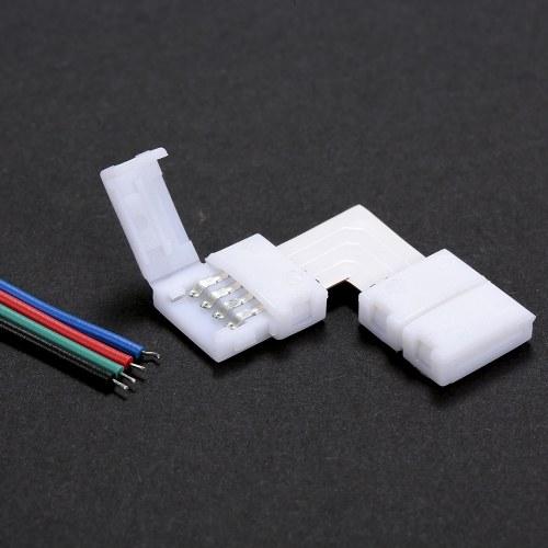10 Pack White L Shape 4 штырьков RGB светодиодный разъем для быстрой развязки Quick Splitter