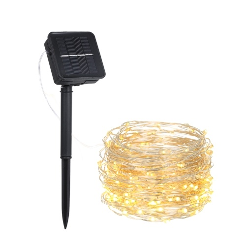 12W 20M/65.6Ft 200 LEDs Solar Powered Energy Copper Wire Fairy String Light Lawn Lamp with 8 Different Lighting Modes Effects Flexible Twistable Bendable IP65 Water Resistance Warm White for Yard Garden Patio Christmas Xmas Festival Home Party Decoration Indoor Outdoor Use