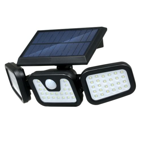 Luz de pared con energía solar Sensor de movimiento PIR 3 modos de iluminación Lámpara de inundación plegable de 3 cabezas