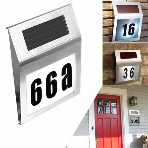 Solar Lights Outdoor House Number Sign Lighted LEDs Doorplate Number Light for Home Garden Yard Street