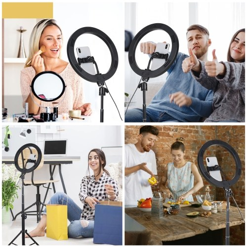 Tomshine 10 Inches Dimmable Ring Light Set DC5V 12W 120 LEDs Round Camera Lamp with Tripod Stand BT Remote Control 3 Lighting Modes &10 Brightness Levels for Photography Makeup Selfie Live Stream Video Show
