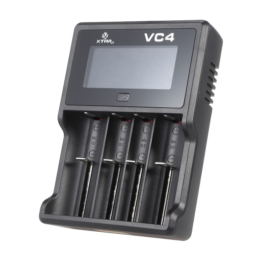 XTAR VC4 LCD Intelligent Digital Multifunctional USB 4 Slots Channels Current Selectable 3.6V/3.7V Lithium Li-ion 1.2V Ni-MH/Ni-CD Battery Charger for Rechargeable 32650 26650 18700 18650 18500 16340 14500 10440 AAAA AAA AA A SC C D