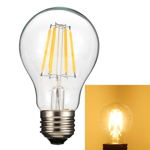 6W A60 LED Filament Bulb Light AC220-240V E27 Base Vintage Retro Holiday Festival Decorations Warm White