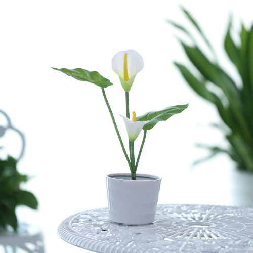 2 LEDs 0.12W Solar Powered Calla Lily Flower LED Light Night Lamp Water-resistant IP65 Light Control Outdoor Garden Decorative Landscape Lawn Light for Yard Pathway Patio