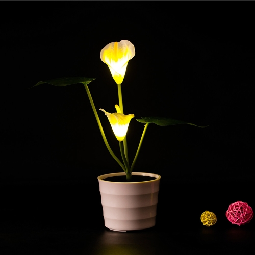 2 LEDs Solar Powered Calla Lily Flower LED Light Night