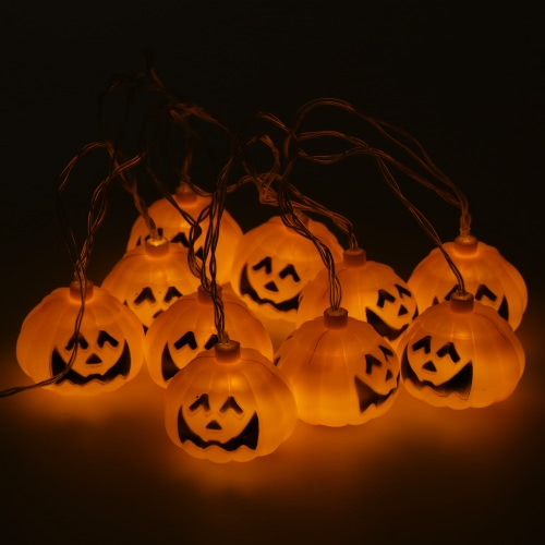 Halloween 2.5m/8.2ft 10 LEDs Pumpkin String Light  Jack-O-Latern Battery Operated Decoration for Outdoor Home Patio Garden Warm White
